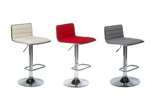 The Milo barstools are adjustable from counter to bar height. They are available in light grey, dark grey, or red fabric.