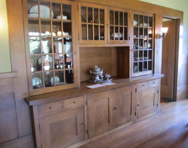 Built-in china hutch in the dining room. The Marston House, San Diego.