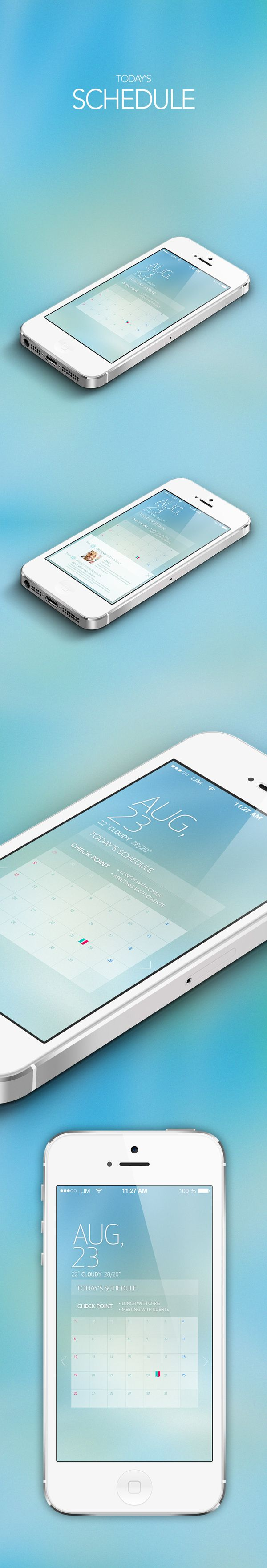 Schedule calendar app design by Hyelim Choi, via Behance
