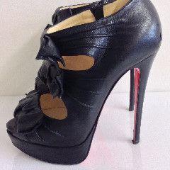 Christian Louboutin - Madame Butterfly Black Leather Platform Heels - – kitty butler