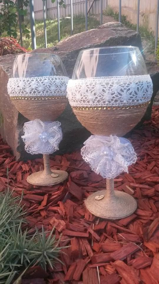 Wedding glasses with lace. Hand Made. Slovakia