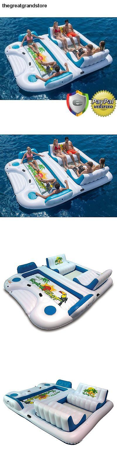 Inflatable Floats and Tubes 79801: Giant 6 Person Inflatable Raft Pool Tropical Tahiti Ocean Floating Island Huge L BUY IT NOW ONLY: $289.5