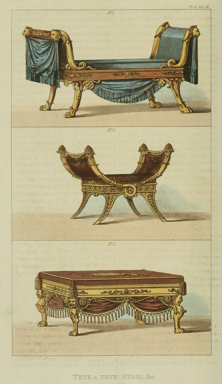 I love that in the top one the lions are holding the draping fabric in the mouths.  Regency Furniture 1823-1828: Ackermann's Repository Series 3