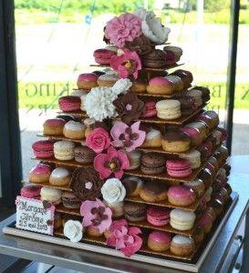 Magnifique pièce montée de choux et de macarons pour sublimer votre mariage