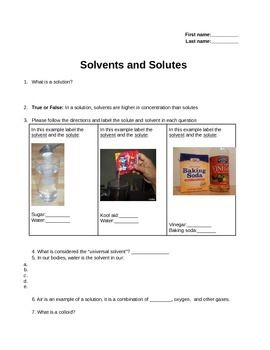 solutes and solvents worksheet or review sheet with answer key school ideas worksheets. Black Bedroom Furniture Sets. Home Design Ideas