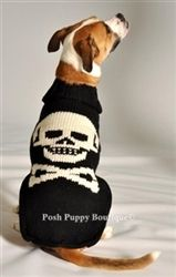 Black Skull Dog Sweater- Apparel - Sweaters Posh Puppy Boutique