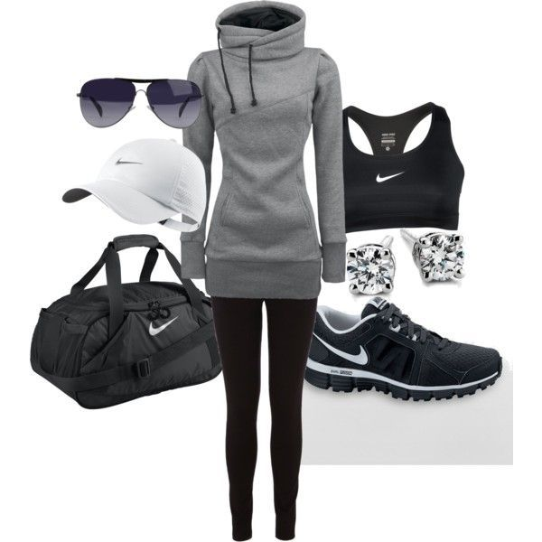 Work out Gear #nike #workout #fitness #gym nike workout gear. Love the sweatshirt, hat, and  sporty look!