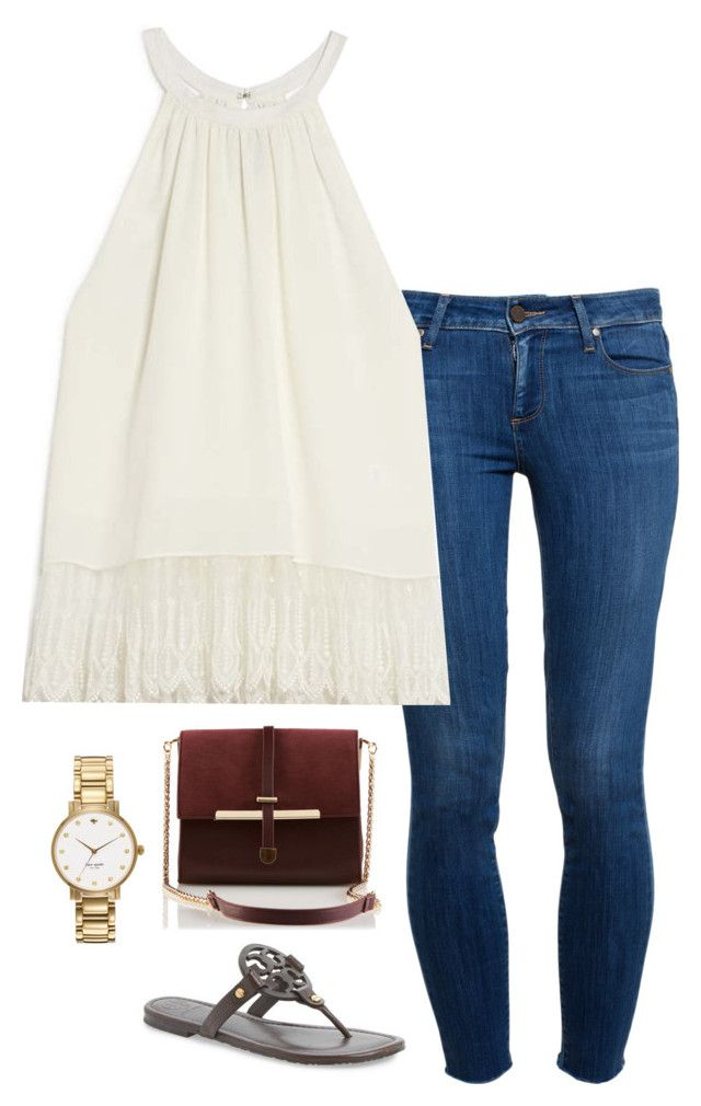 """""""Labor Day lunch"""" by helenhudson1 ❤ liked on Polyvore featuring Paige Denim, OTTE, Tory Burch and Kate Spade"""
