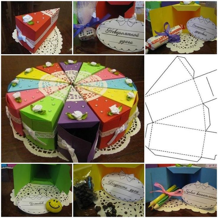 """<input class=""""jpibfi"""" type=""""hidden"""" >What a creative idea to create such beautiful gift boxes like a cake! You can put any small gifts in it, such as candies, chocolates, stationery, toys, greeting cards and even money! It's great for kids' party where each slice…"""