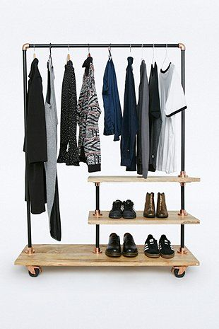 Iron and Wood Clothes Rack - Urban Outfitters