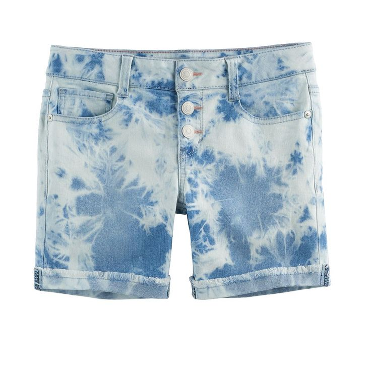 Girls 7-16 SO® Acid Wash Frayed Cuff Midi Jean Shorts, Size: 14, Light Blue