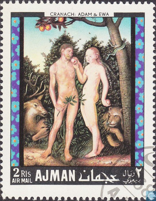 Postage Stamps - Ajman - Paintings Adam and Eve