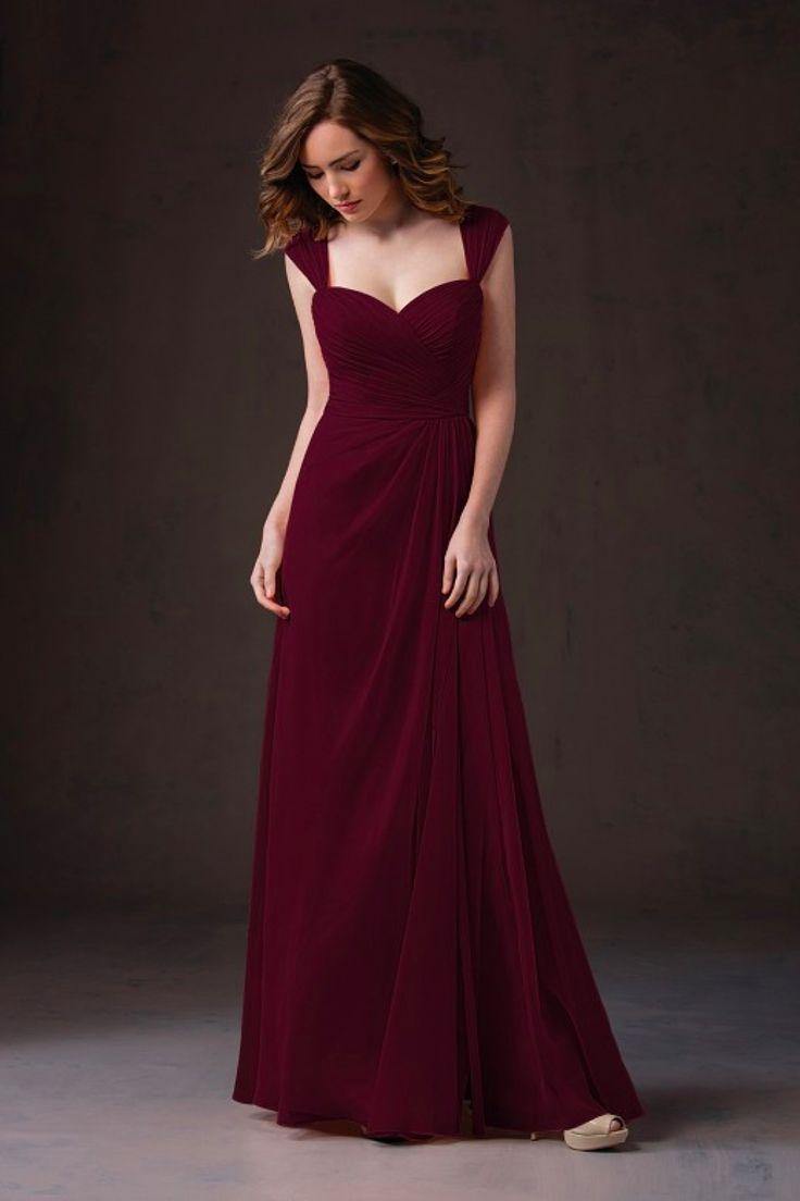 Chiffon cranberry bridesmaid dresses
