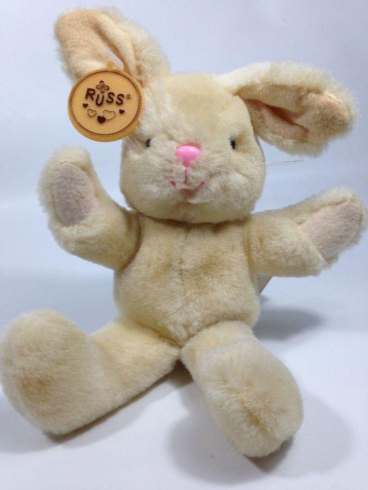 "Vintage Russ LOVEY Plush Bunny Rabbit Cream Color Stuffed Animal 7"" TAG - X-59 #Russ"