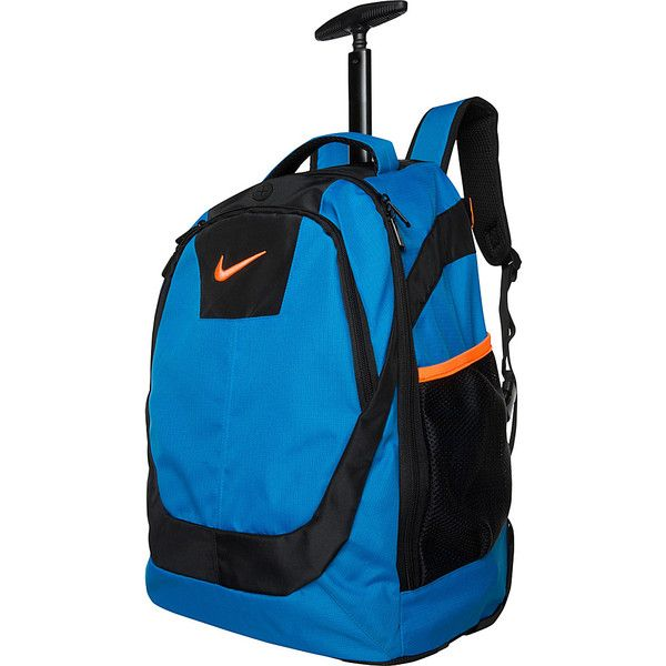 Nike Accessories Rolling Laptop Backpack (£48) ❤ liked on Polyvore featuring bags, backpacks, blue, wheeled backpacks, nike backpack, padded laptop bag, laptop bag, nike bag and padded bag