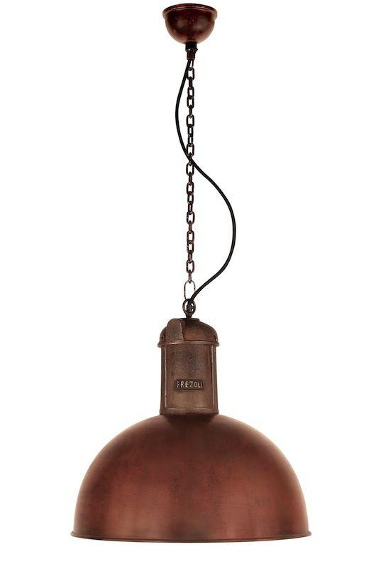 stoere hanglamp uitgevoerd in koper en metaal