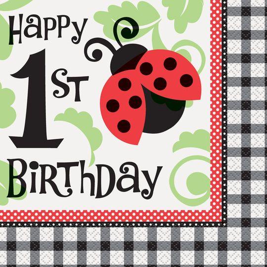Ladybug 1st Birthday Luncheon Napkins, 16ct