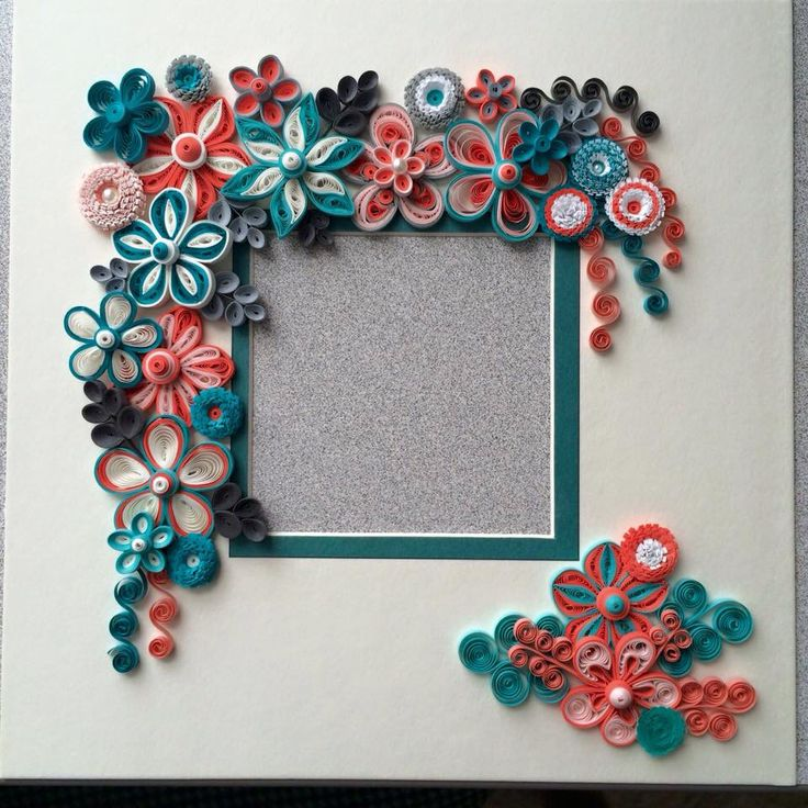 Orange & Teal quilled picture frame