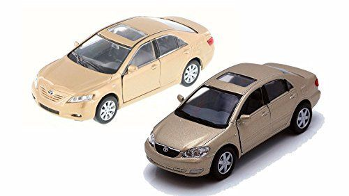 Toyota Camry and Corolla, Gold   Set of Two 1/36 Scale Diecast Economy Cars. #Toyota #Camry #Corolla, #Gold #Scale #Diecast #Economy #Cars