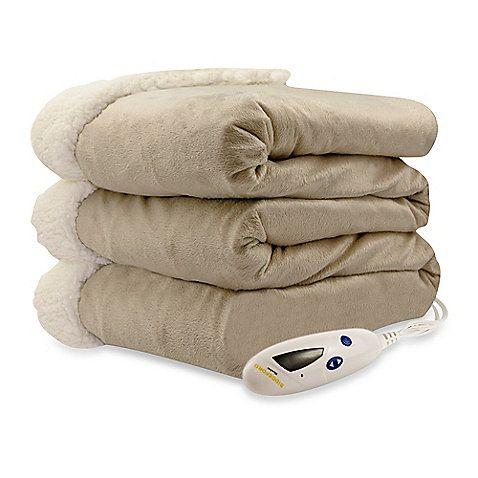 Biddeford Blankets® Micro Mink Sherpa Electric Heated Throw - BedBathandBeyond.com