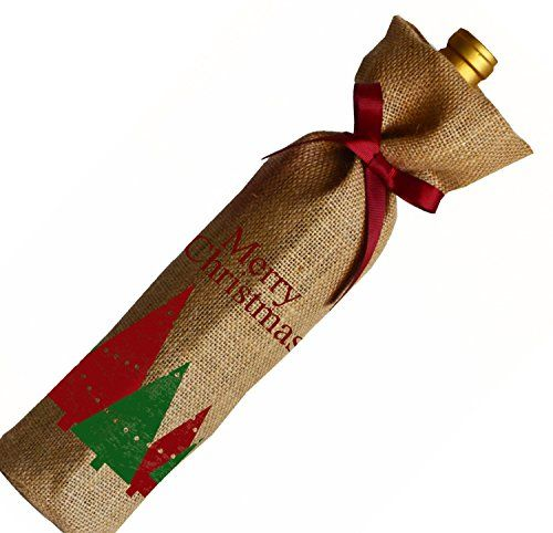 Amore Beaute Handcrafted Merry Christmas Natural Jute (Burlap) Wine Bag Set with Grosgrain Ribbon - Wine Gift Bags - Wine Bottle Cover - Wine Gift for Hostess Gift, Holidays, Christmas (1) Amore Beaute http://www.amazon.co.uk/dp/B017M3SCTS/ref=cm_sw_r_pi_dp_5mMdxb0PCQ3XX