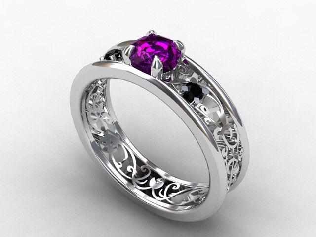 Amethyst Ring Filigree Engagement Ring Black Diamond Wedding Ring Amethy