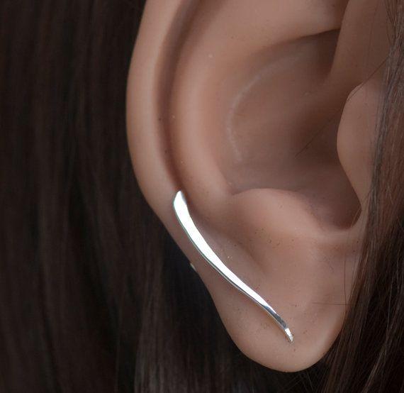 Minimalist Ear Cuff Earrings Ear Crawler Pin by SilverCedarJewelry