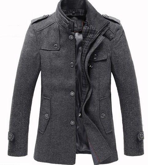 Splice Wool Jacket Men's Slim Fit Windproof Outerwear