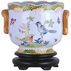 Birds and Butterflies Hand-Painted Porcelain Cachepot