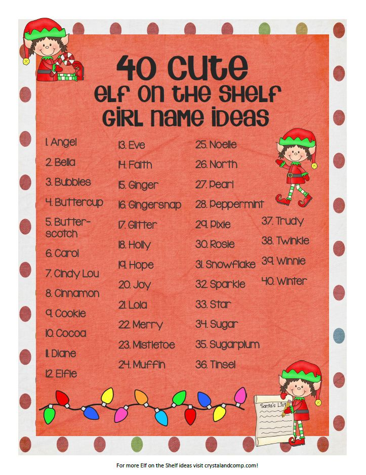 40 girl elf on the shelf name ideas