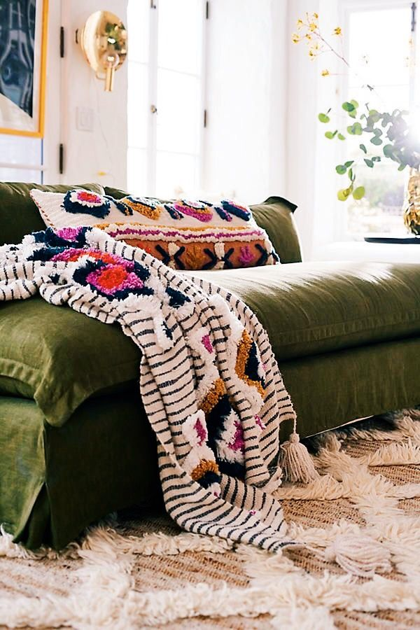 blanket, pillow, and rug.