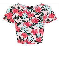 Teens Pink Tropical Print Cap Sleeve Crop Top  | New Look