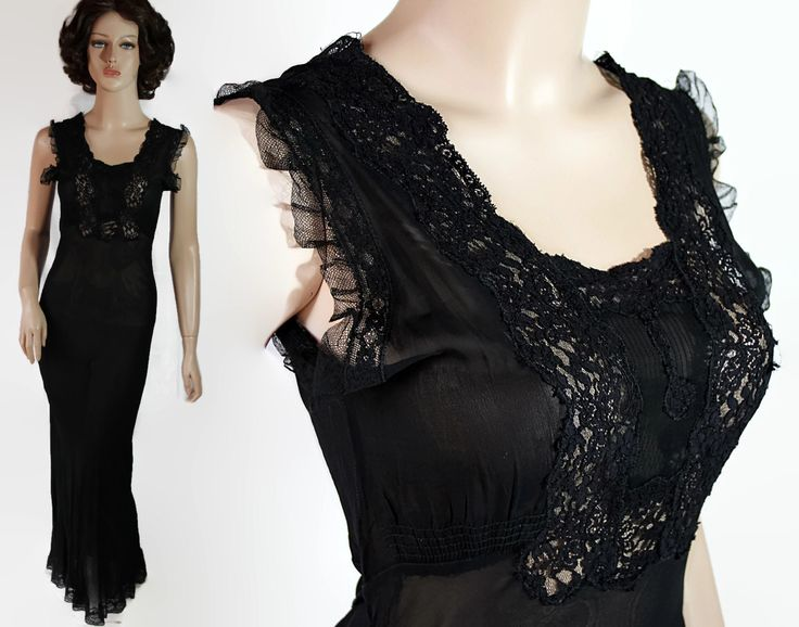 40s Nightgown Black Sheer Sexy Pin Up Lingerie Old Hollywood Bias Cut by PetticoatsPlus on Etsy
