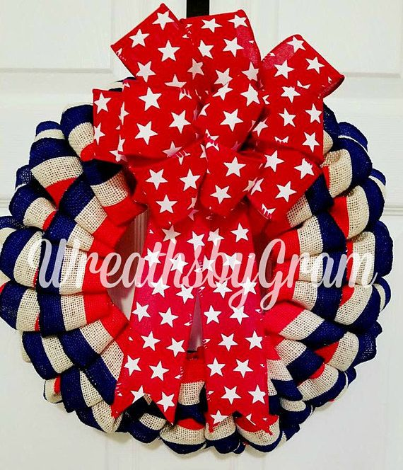 Patriotic Wreath; 4th of July Wreath; Americana Wreath; Burlap Wreath; Primitive Patriotic; USA Wreath; Flag Wreath; American Decor; Stars; Support the Troops; Military; Stars and Stripes; Red White and Blue; July 4th decorating ideas