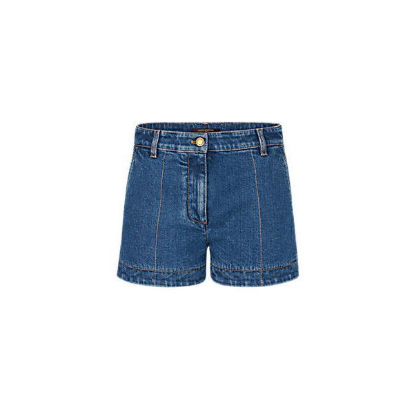 Stonewashed Denim Shorts (€515) ❤ liked on Polyvore featuring shorts, monogrammed shorts, jean shorts, pocket shorts, short jean shorts and denim short shorts