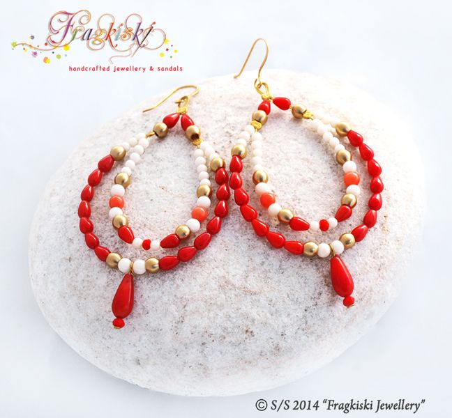 Beaded Earrings_Coral Drops from Fragkiski Jewellery & Sandals by DaWanda.com