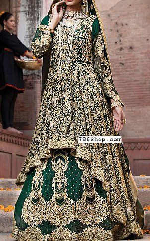 ea9047a49d Bottle Green Chiffon Suit | Buy Embroyal Pakistani Dresses and Clothing  online in USA, UK