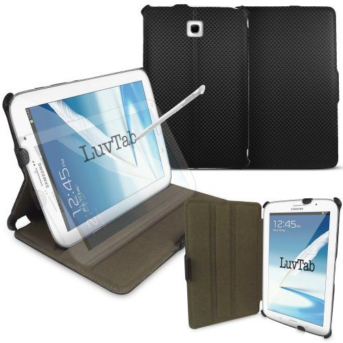 Samsung Galaxy Note 8.0 (8 inch tablet) 'Frameless' Multi Angle Wallet Stand Case with 'Sleep Sensor' by LuvTab® (CARBON BLACK) LuvTab http://www.amazon.co.uk/dp/B00BSBHMH4/ref=cm_sw_r_pi_dp_bSRYub1XKJF9Z