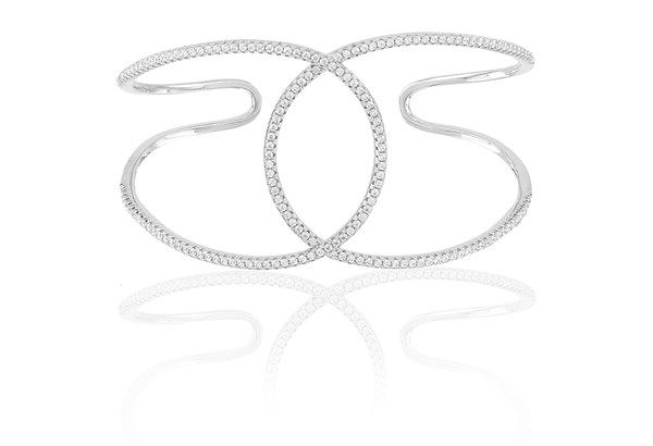 Bangle Fucino Grande with white zirconia