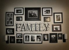 "Photo Collage idea for the wall...we can cut the ""Family"" out of vinyl"