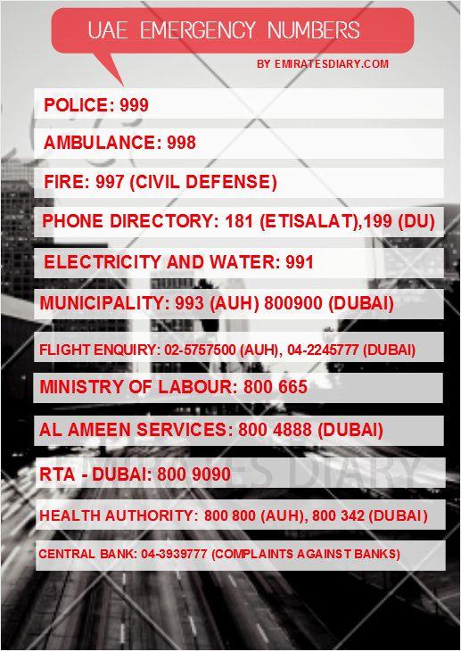 Below is the list of Emergency Numbers in Dubai Abu Dhabi UAE: Police Emergency number UAE: 999 Ambulance Emergency number UAE: 998 Fir…   Dubai ...