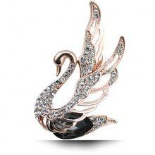 Tam Rhinestone gümüş kaplama Vintage Kristal Eşarp Toka Siyah Kuğu Kadın Broş Pin, Moda Noel Hediye N192(China (Mainland))