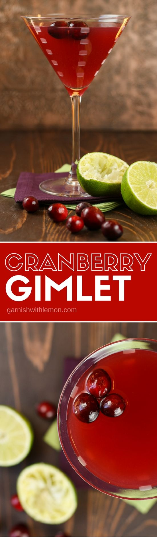 Fall happy hour never looked prettier! This simple Cranberry Gimlet cocktail recipe is the perfect drink to enjoy now and well into the entertaining season.