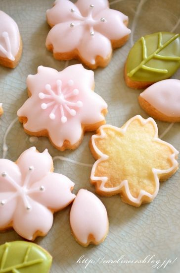 Flower Cookies~                         By Caroline and Laura's tea break, sweet pink