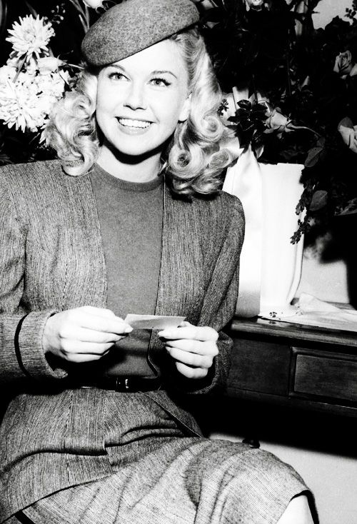 """doris day in her dressing room on the first day of shooting her first film, """"romance on the high seas"""", 1948"""