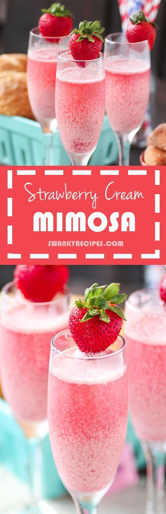 Strawberry Cream Mimoas - Perfect for brunch or holidays http://www.swankyrecipes.com #mimosa #brunch #strawberry