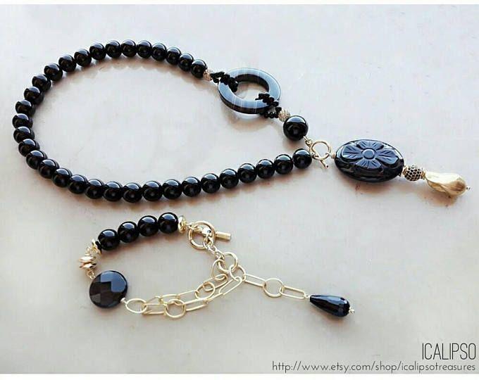 Istruzione set di gioielli, collana lariat, gioielli di perline, gioielli in pietre dure, collana di onice, onice nero gioielli, regalo per la moglie, regalo per la mamma