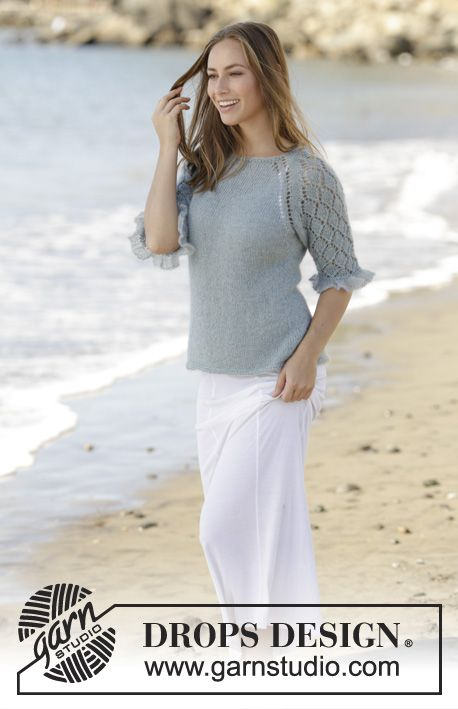 Seaside Dream Jumper with lace pattern and raglan, worked top down by DROPS Design Free Knitting Pattern