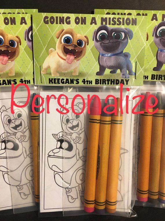 Personalized Disney Puppy Dog Pals Color Kit Favors Crayon