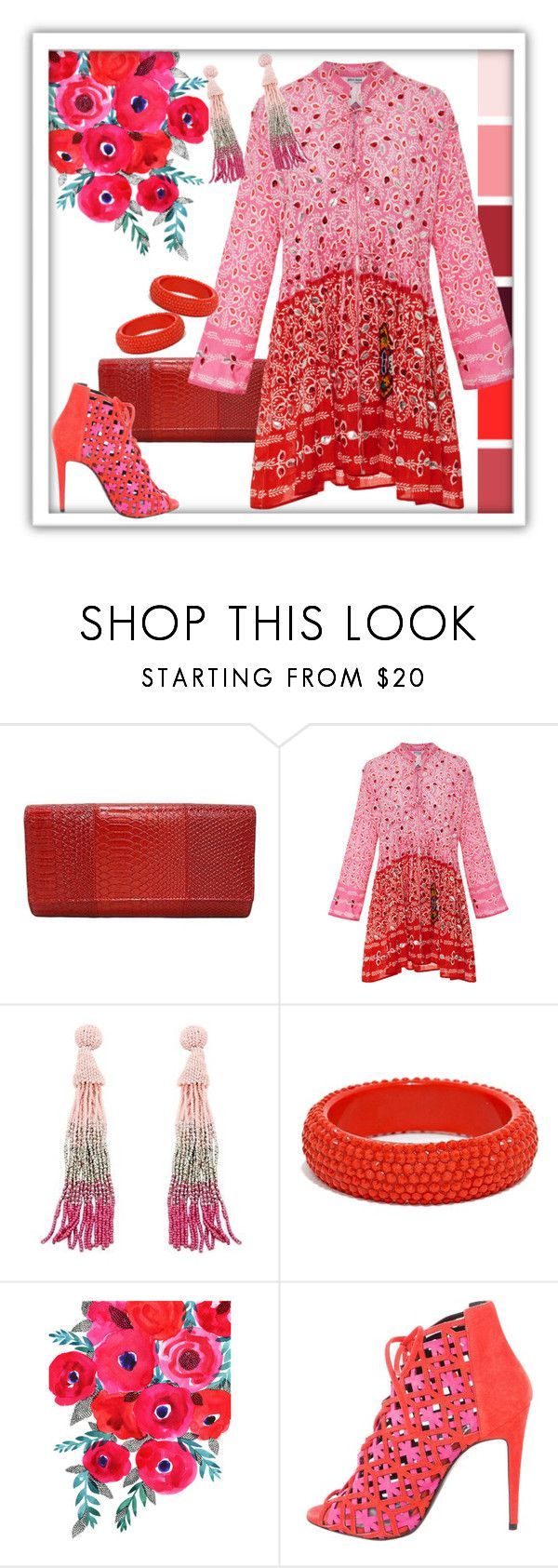 """""""Paisley in Red & Pink"""" by shoppe23 ❤ liked on Polyvore featuring Juliet Dunn, Pierre Hardy, paisley, tassels, tasselearrings, Shoppe23 and SpikedBangle"""